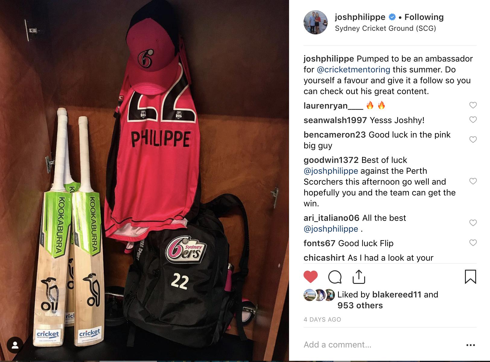 Josh Philippe Cricket Mentoring Ambassador