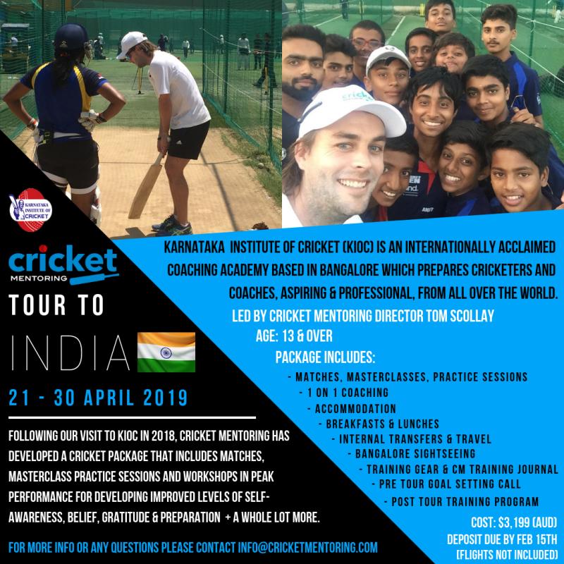 Cricket Mentoring Indian Tour 2019