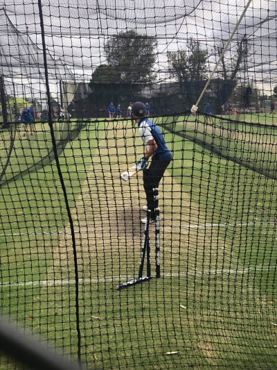 Blake Reed batting in the nets at Adelaide Oval